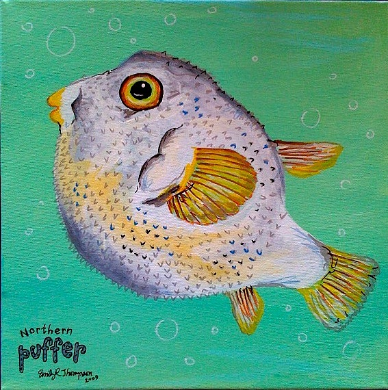 Norther Puffer Painting by Emily Reynolds Thompson