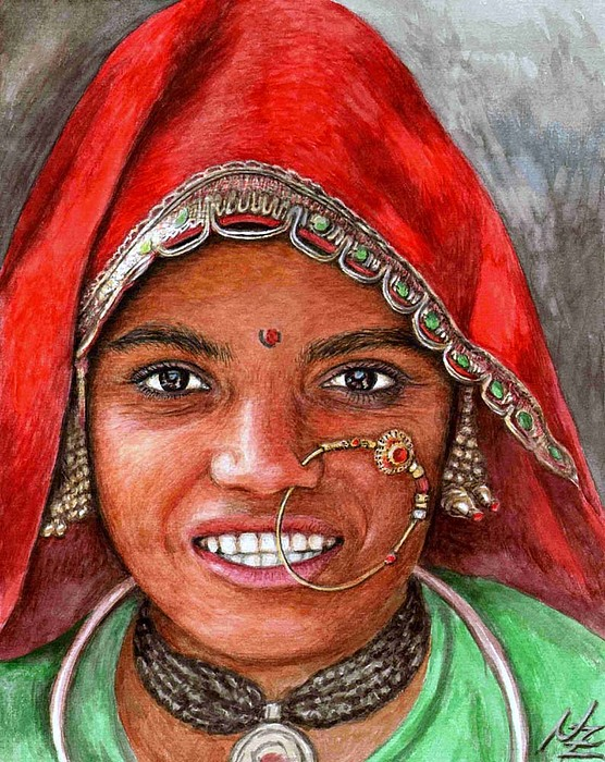Woma Painting - Northindian Woman by Nicole Zeug