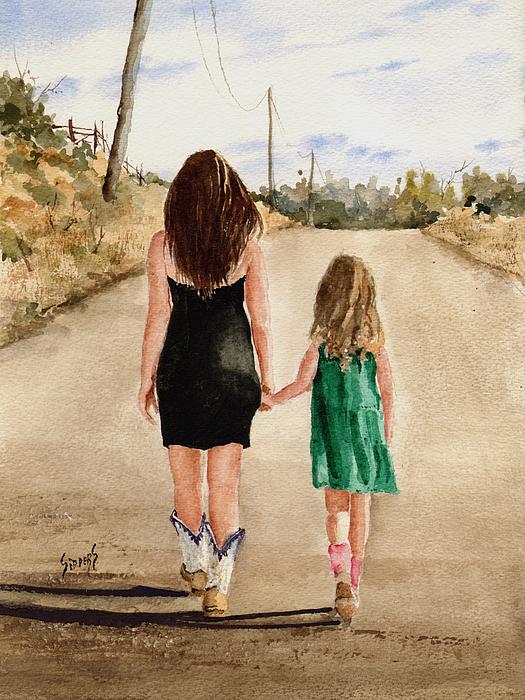 Girls Painting - Northwest Oklahoma Sisters by Sam Sidders