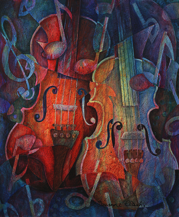 Suzanne Clark Painting - Noteworthy - A Viola Duo by Susanne Clark