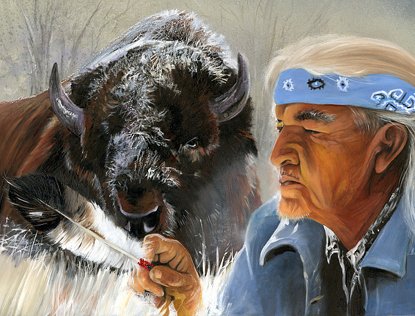 Native American Portraits Painting - Nothing Is Ever Forgotten by J W Baker