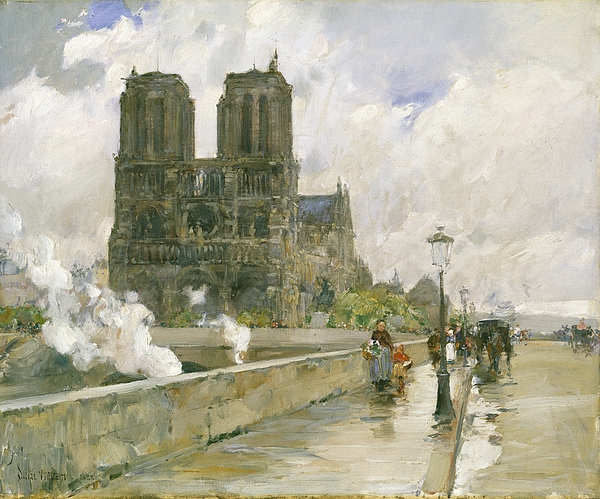 Notre Painting - Notre Dame Cathedral - Paris by Childe Hassam