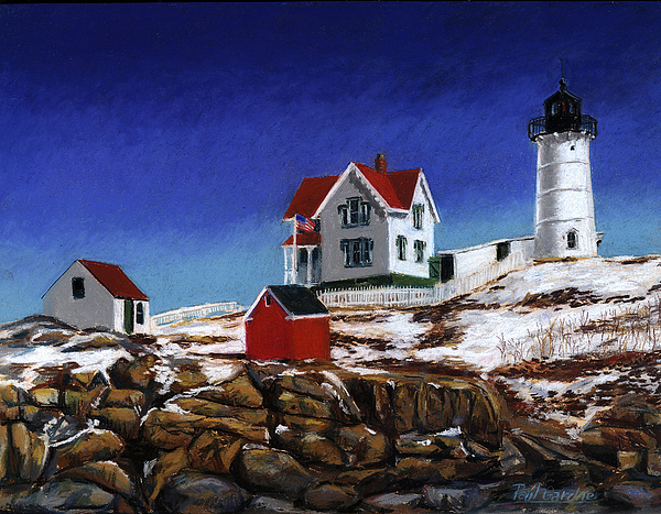 Nubble Lghthouse Painting - Nubble Light by Paul Gardner