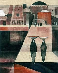 Nubian House Painting by Ehab Lotfi