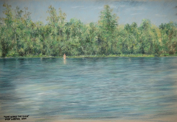 Nude Pastel - Nude Across The River by Larry Whitler