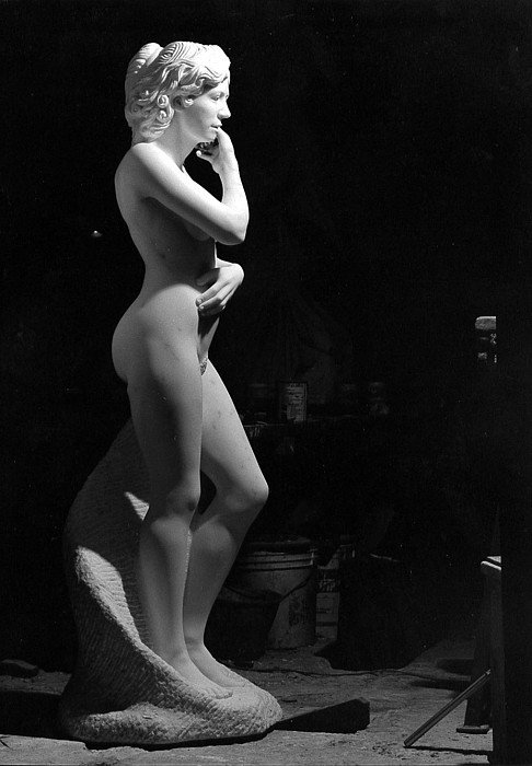 Marble Sculpture - Nude With Cell Phone by Andrew Wielawski