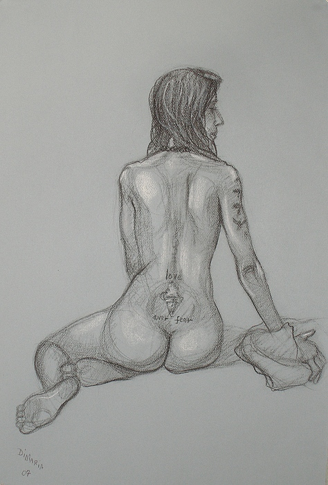 Realism Drawing - Nude With Tattoo 1 by Donelli  DiMaria