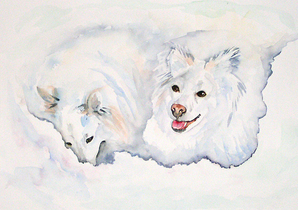 Canine Painting - Numa And Amari by Gina Hall
