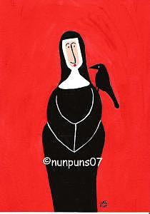 Nun And Crow Painting by Michele Edsall