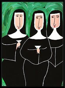 Nuns Painting - Nunpuns In Green by Michele Edsall