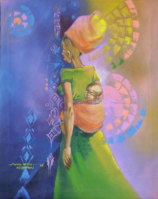 Mother Painting - Nwa Akwo Na Azu  by Eziagulu Chukwunonso