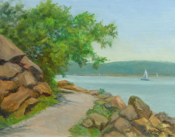 Oil Landscape Painting - Nyack Trail Along The Hudson by Phyllis Tarlow