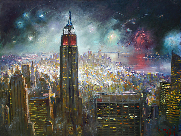 Nyc. Empire State Building Painting by Ylli Haruni