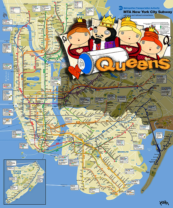New York City Painting - Nyc Subway Map Queens by Turtle Caps