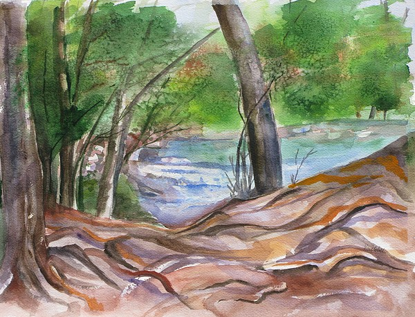 Landscape With Trees Painting - Oak Creek In Sedona by Kathy Mitchell