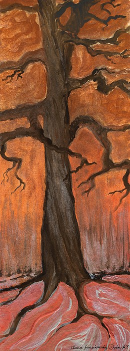 Painting Painting - Oak Tree In The Fall by Anna Folkartanna Maciejewska-Dyba