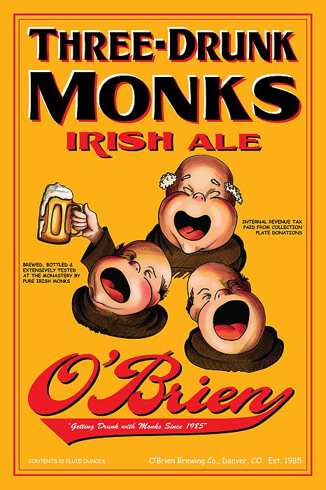 Monks Drawing - Obrien Three Drunk Monks by John OBrien