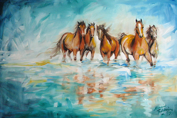 Ocean Breeze Wild Horses Painting by Marcia Baldwin