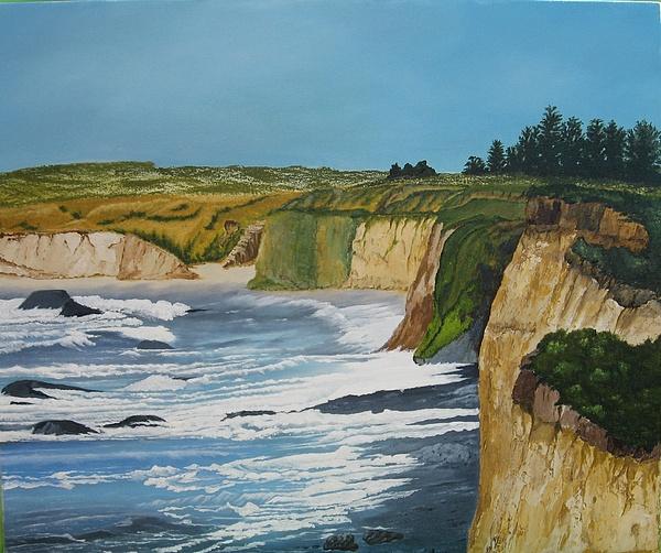 Ocean Cliffs Painting - Ocean Cliffs by Joan Taylor-Sullivant