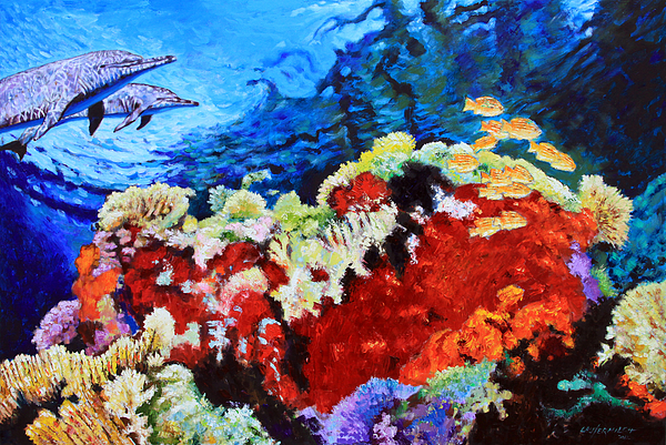 dolphins painting ocean garden by john lautermilch - Ocean Garden