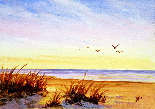 Ocean Painting - Ocean Sunset by Varvara Harmon