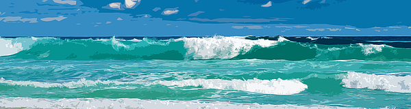 Landscapes Digital Art - Ocean Surf Illustration by Phill Petrovic
