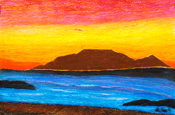 Shore Pastel - Ocean View Of A Mountain by Sonia Teoli