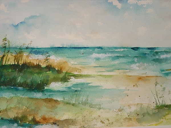 Sea Oats Painting - Oceanside by Robin Miller-Bookhout