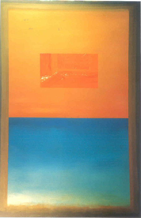Orange And Blue Painting - Ocra Arancio Celeste by Carlo Bazzoni