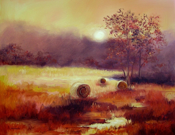 Fall Landscape Painting - October Pasture by Ginger Concepcion