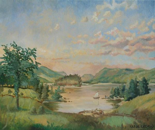 Landscape Painting - Ode To The Drau River by Leela Logan