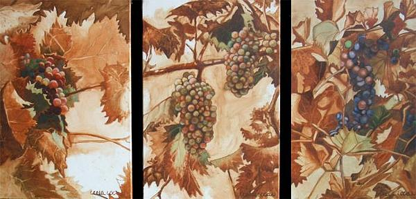 Triptych Painting - Ode To The Vine IIi by Leela Logan