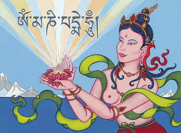 Goddess Painting - Offering Goddess With Mantra om Mani Padme Hum by Carmen Mensink