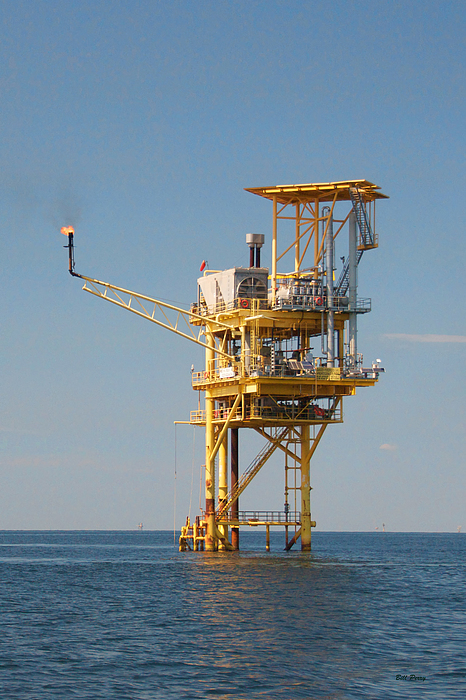 Oil Photograph - Offshore Gas Platform by Bill Perry