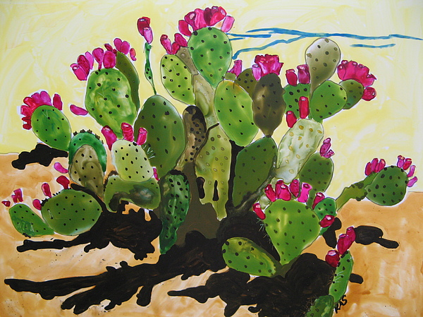 Southwest Painting - Ofna Prickly Pear by Kitty Schwartz