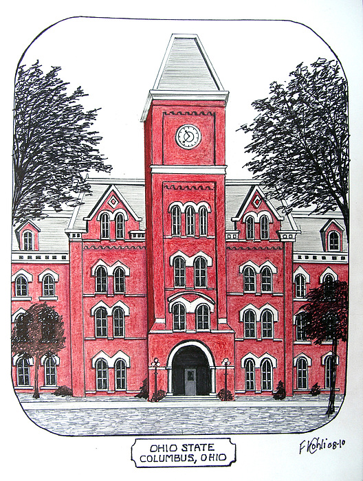Historic Buildings Drawings Drawing - Ohio State by Frederic Kohli