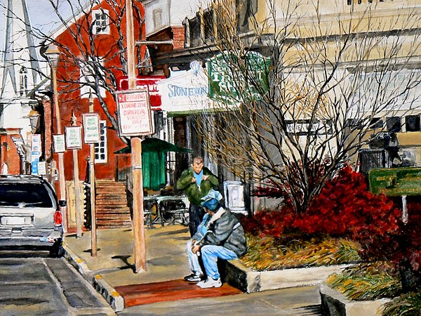 City Scene Painting - Oil Stains And Red Nandina by Thomas Akers