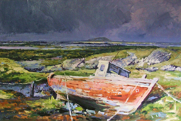 Rustic Boat Painting - Old Boat On Shore by Conor McGuire
