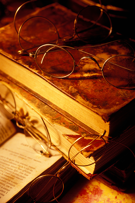 Book Photograph - Old Books And Glasses by Garry Gay