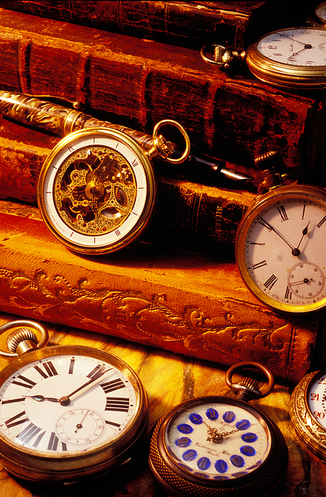 Book Photograph - Old Books And Pocket Watches by Garry Gay