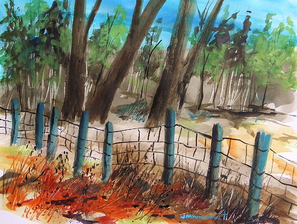 Fence Painting - Old Boundary by John Williams