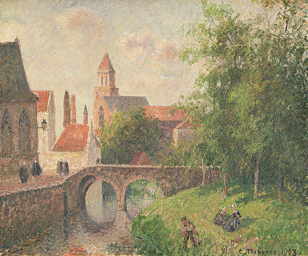 Old Bridge Painting - Old Bridge In Bruges  by Camille Pissarro