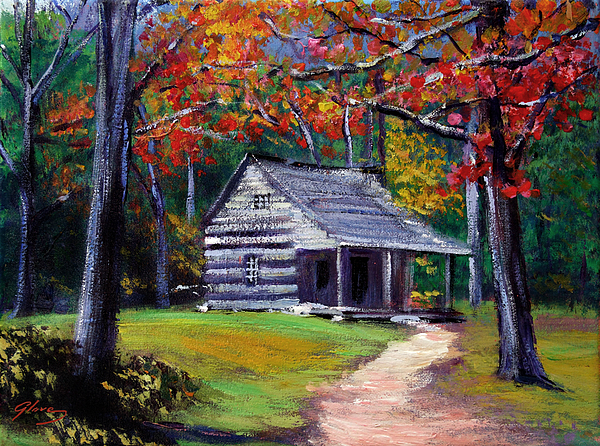 Old cabin plein aire painting by david lloyd glover for Log cabin painting