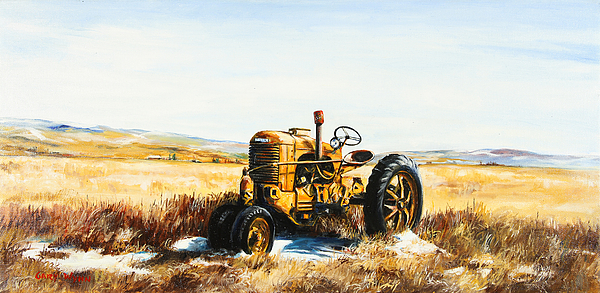 Case Tractor Farm Tractors Landscape Western Ranch Land Tractor Vintage Tractors Winter Scene Snow Scene  Painting - Old Case Tractor by Gary Wynn