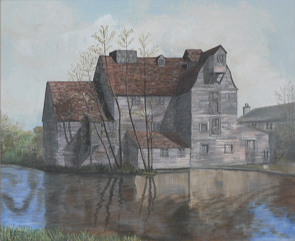 Grain Mill Painting - Old English Mill by Dan Bozich