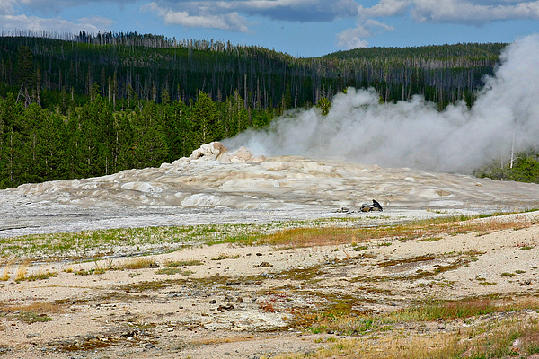 Old Faithful Geyser Photograph - Old Faithful - An American Icon In Yellowstone National Park Wy by Christine Till