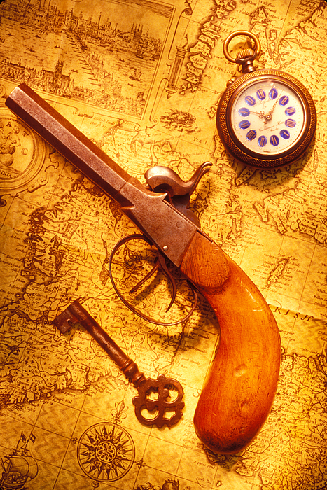 Old Photograph - Old Gun On Old Map by Garry Gay