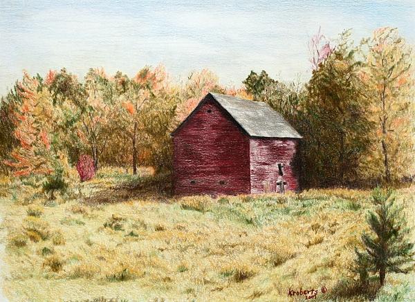 Homestead Drawing - Old Homestead Barn by Kathy Roberts