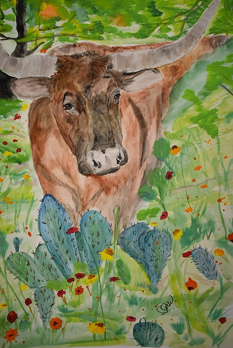 Texas Longhorn Painting - Old Joe by Susan Snow Voidets