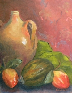 Oil Painting - Old Jug And Persimmons by Brenda Williams